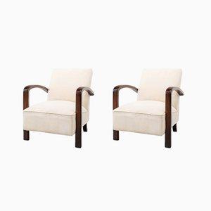 Französische Art Deco Sessel mit Gestell aus Nussholz, 1930er, 2er Set