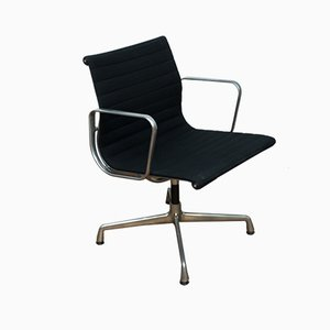 EA10 Vintage Aluminum and Hop Sack Desk Chair by Charles & Ray Eames for Vitra