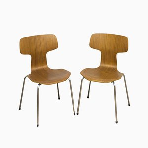 Vintage EA107 Danish Plywood and Steel Side Chairs by Arne Jacobsen for Fritz Hansen, Set of 2