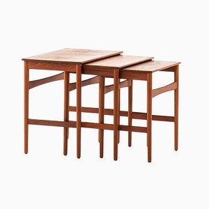 Tables Gigognes en Teck et Chêne par Hans J. Wegner pour Andreas Tuck, 1950s