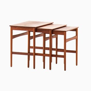 Teak & Oak Nesting Tables by Hans J. Wegner for Andreas Tuck, 1950s