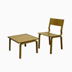 Juego de silla y mesa Saint Catherine College danesas Mid-Century de madera de Arne Jacobsen para Fritz Hansen