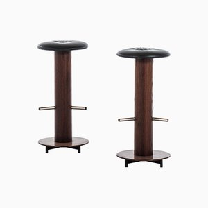 Danish Leather and Rosewood Stools, 1960s, Set of 2
