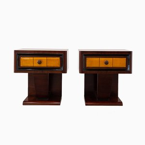 Art Deco Italian Cedar and Sycamore Nightstands, 1940s, Set of 2