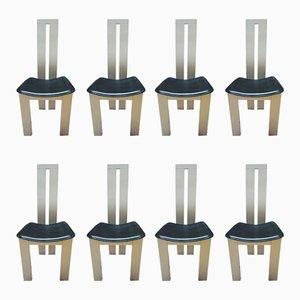 Schwarz-weiße italienische Esszimmerstühle von Pietro Costantini für Ello, 1970er, 8er Set