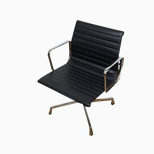 Vintage German Aluminum & Skai EA107 Desk Chairs by Charles & Ray Eames for Vitra, Set of 2