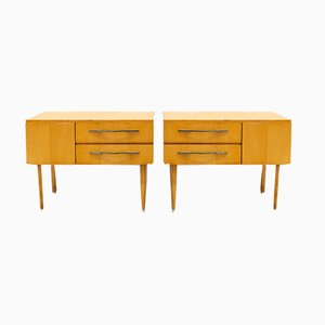 Mid-Century French Sycamore Nightstands, 1950s, Set of 2