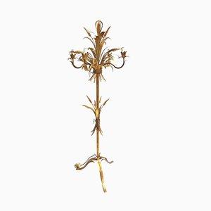 Lámpara de pie italiana Mid-Century de metal dorado, años 60
