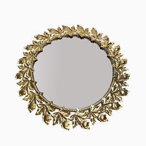 Espejo francés Mid-Century de latón dorado, años 60