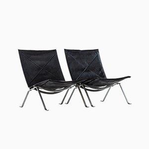 Moderne dänische PK-22 Beistellstühle aus Leder & Stahl von Poul Kjærholm, 1950er, 2er Set