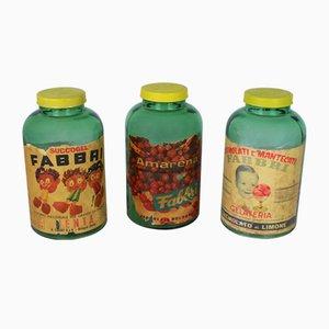 Frascos de heladería italianos Mid-Century de Fabbri S. p. A., años 40. Juego de 3