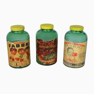 Mid-Century Italian Confectionery Jars Fabbri S.p.A., 1940s, Set of 3