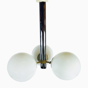 Chrome-Plated & Opaline Glass Ceiling Lamp from Doria, 1970s