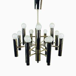 Lámpara de araña Mid-Century de cromo de Gaetano Sciolari, años 60