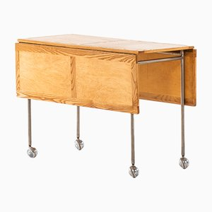 Tavolino in betulla e acciaio di Bruno Mathsson per Firma Karl Mathsson, 1964