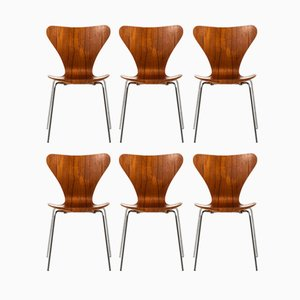 Danish Steel and Teak Model 3107 Dining Chairs by Arne Jacobsen for Fritz Hansen, 1969, Set of 6