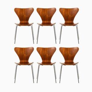 Sedie da pranzo nr. 3107 in acciaio e teak di Arne Jacobsen per Fritz Hansen, Danimarca, 1969, set di 6