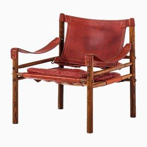 Silla moderna Sirocco de cuero y latón de Arne Norell, 1964