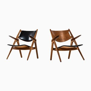 Modern Danish Leather and Oak CH-28 Side Chairs by Hans Wegner, 1951, Set of 2