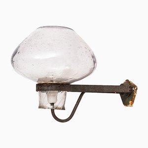 Aplique escandinavo moderno de vidrio y acero de Gunnar Asplund para ASEA, años 40