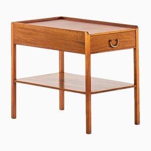 Table d'Appoint en Laiton et Acajou par Josef Frank pour Svenskt Tenn, 1950s