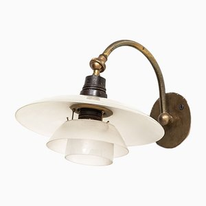 Danish PH-1/1 Brass and Glass Sconce by Poul Henningsen, 1930s
