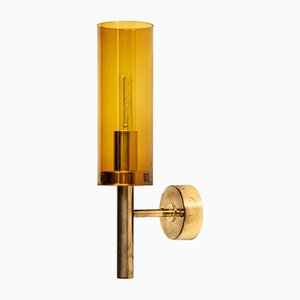 Scandinavian Modern V-169 Brass and Glass Sconce by Hans-Agne Jakobsson, 1960s