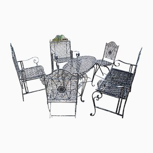 Folding Wrought Weathered Iron Garden Set
