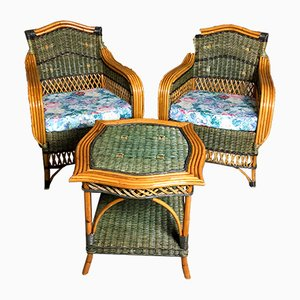 Bamboo and Rattan Woven Living Room Set, 1970s