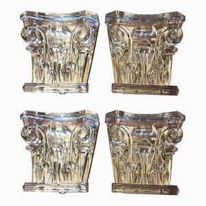 Apliques italianos de latón y cristal de Murano de Arte Veneziana, años 90. Juego de 4