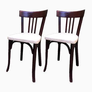 French Beech and Leatherette Dining Chairs from Baumann, 1950s, Set of 4