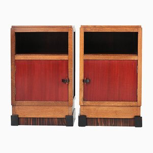 Art Deco Haagse School Dutch Oak Night Stands by J.J.Zijfers, 1920s, Set of 2