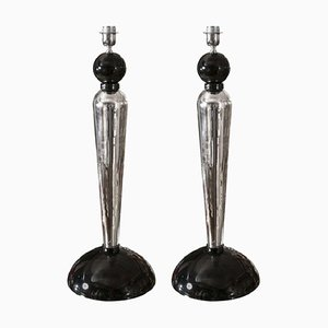 Italian Mirrored Glass and Murano Glass Table Lamps, 1980s, Set of 2