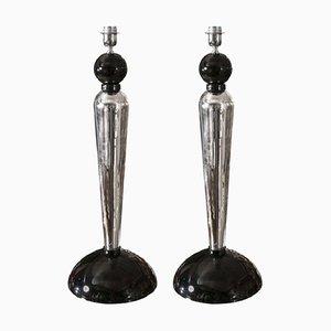Italienische Tischlampen aus verspiegeltem Glas & Muranoglas, 1980er, 2er Set