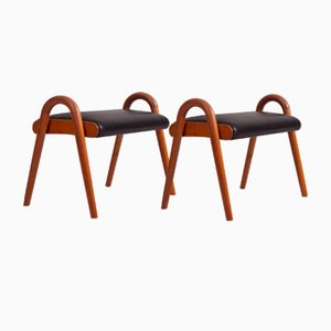 Danish Leather and Teak Stools by Vilhelm Lauritzen, 1950s, Set of 2