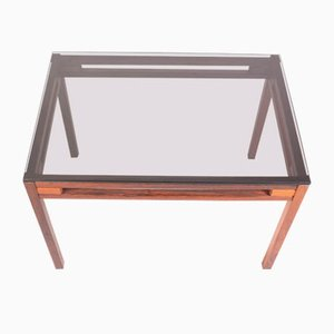 Mesa auxiliar posmoderna de palisandro y vidrio coloreado, años 60