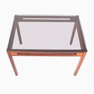 Table d'Appoint Postmoderne en Palissandre et Verre Coloré, 1960s