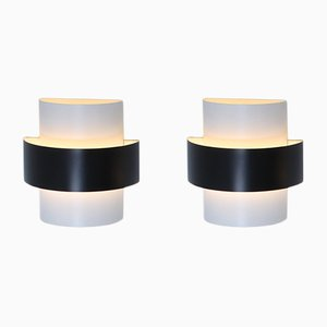 Large Black & White Wall Sconces by J. J. M. Hoogervorst for Anvia, 1960s, Set of 2