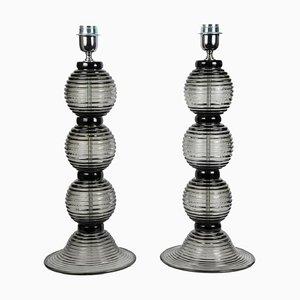 Lámparas de mesa italianas vintage de cristal de Murano de Toso Murano, años 90. Juego de 2