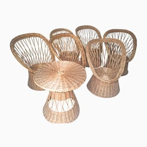 French Rattan and Wicker Garden Set, 1960s