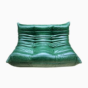 French Green Leather Togo Sofa by Michel Ducaroy for Ligne Roset, 1970s