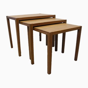 Mid-Century Scandinavian Modern Teak Veneered Nesting Tables