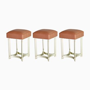 Minimalist Aluminum and Leather Stools, 1980s, Set of 3