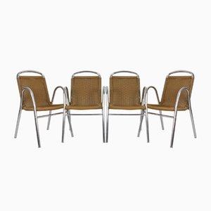 Chaises de Salle à Manger en Plastique et Chrome, 1970s, Set de 4
