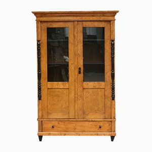 Antique German Glass and Wood Cabinet