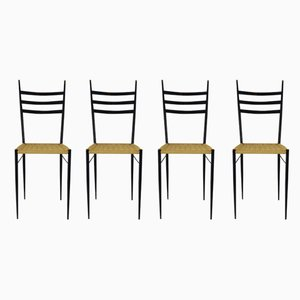 Brass and Iron Dining Chairs, 1950s, Set of 4