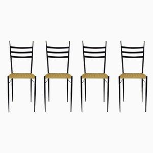 Esszimmerstühle aus Messing & Eisen, 1950er, 4er Set