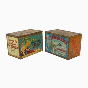 Cajas publicitarias de helados italianas vintage. Juego de 2