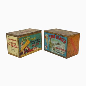 Vintage Italian Ice Cream Advertising Boxes, Set of 2