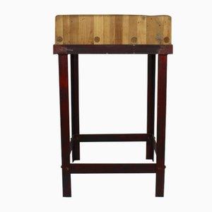Mesa de trabajo Mid-Century de hierro y madera, años 60
